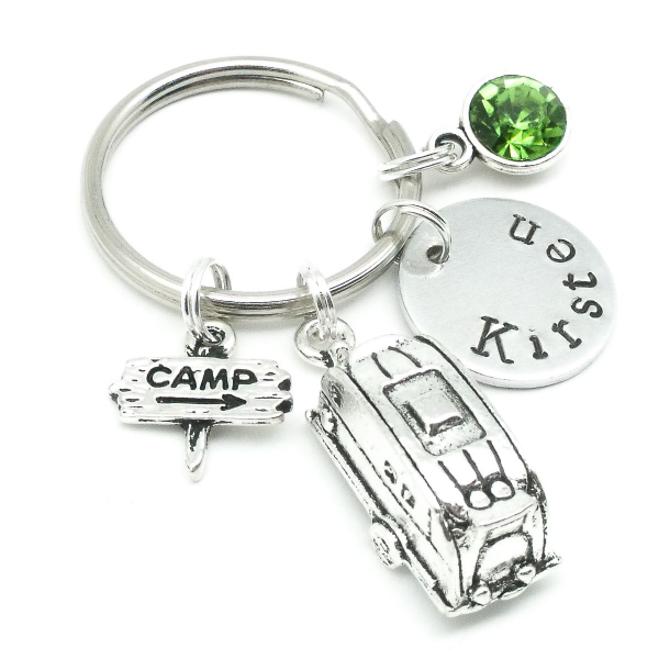 Caravan gift name keyring personalised birthstone